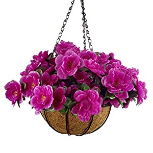 Mynse Set of Artificial Azalea Flowers Hanging Flowerpot with Chain for Outdoor Decoration (Big Basket and Artificial Flowers) 113