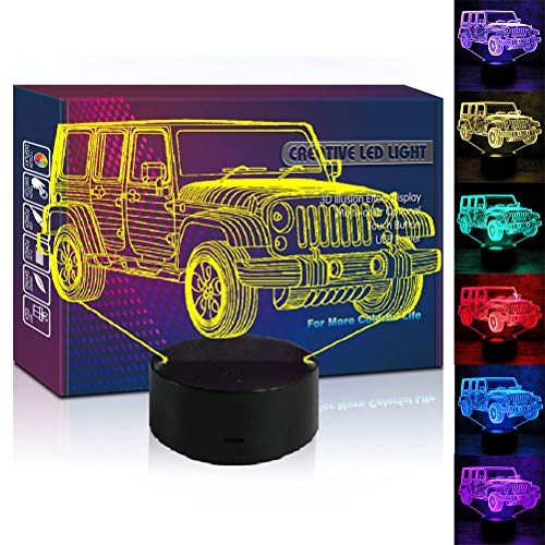 Jeep 3D Illusion Led Lamp 7 Colors Car Night Light Truck Birthday Gift Christmas Present for Boy Boyfriend Men Husband Kids Outdoor Sports Fans Home Office Children Room Social Bedroom Decor (Jeep)