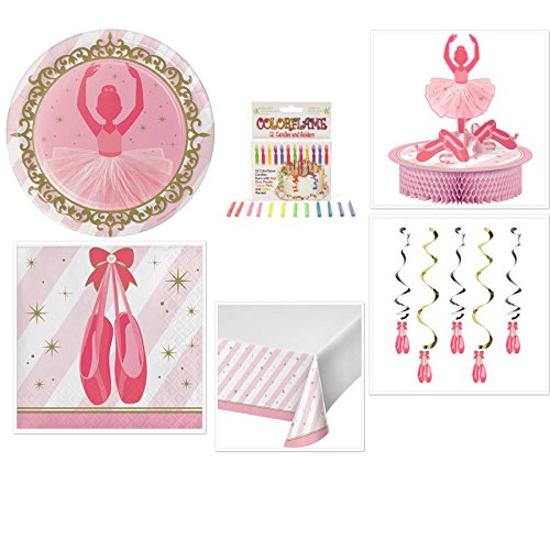 Olive Occasions Ballerina Twinkle Toes Party Supplies Bundle 16 Dinner Plates, 16 Lunch Napkins, Table Cover, Centerpiece, Dizzy Danglers, Candles, Recipe]()