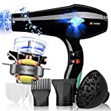 FZHZZ Thermostatic Hair Dryer 2500W Salon with A Collection Nozzle, Negative Ion Hair Dryer, Multi-Function 2 Speed 3 Heat Setting,B