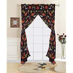 Golden linens 4 Pieces Window curtain/ Drape Set with printed kids design DINOSAUR BROWN
