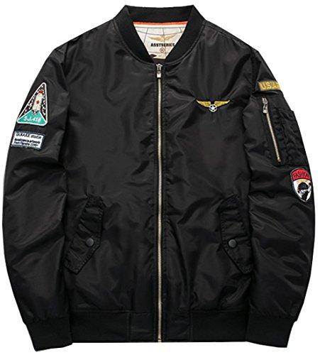 Fashciaga Men's U.S. Air Force Bomber Flight Jacket Black ()