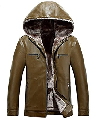 JEWOSOR Men's Winter Warm Thick Hooded Faux Sheepskin Leather Jacket Outdoor Parka Trench Coat Fur Lining