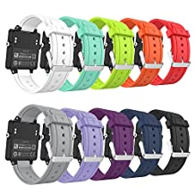 Garmin Vivoactive Watch Band, MoKo [10 PACK] Soft Silicone Replacement Watch Band with Metal Clasps ONLY for Garmin Vivoactive Acetate Smart Watch, 10PCS (Multi-Colors)