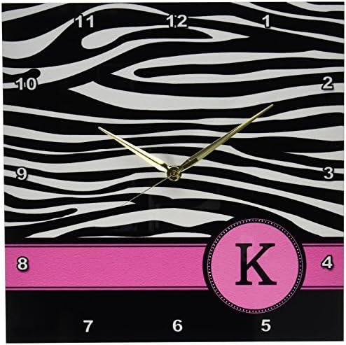 3dRose DPP_154282_2 Letter K Monogrammed Black and White Zebra Stripes Animal Print