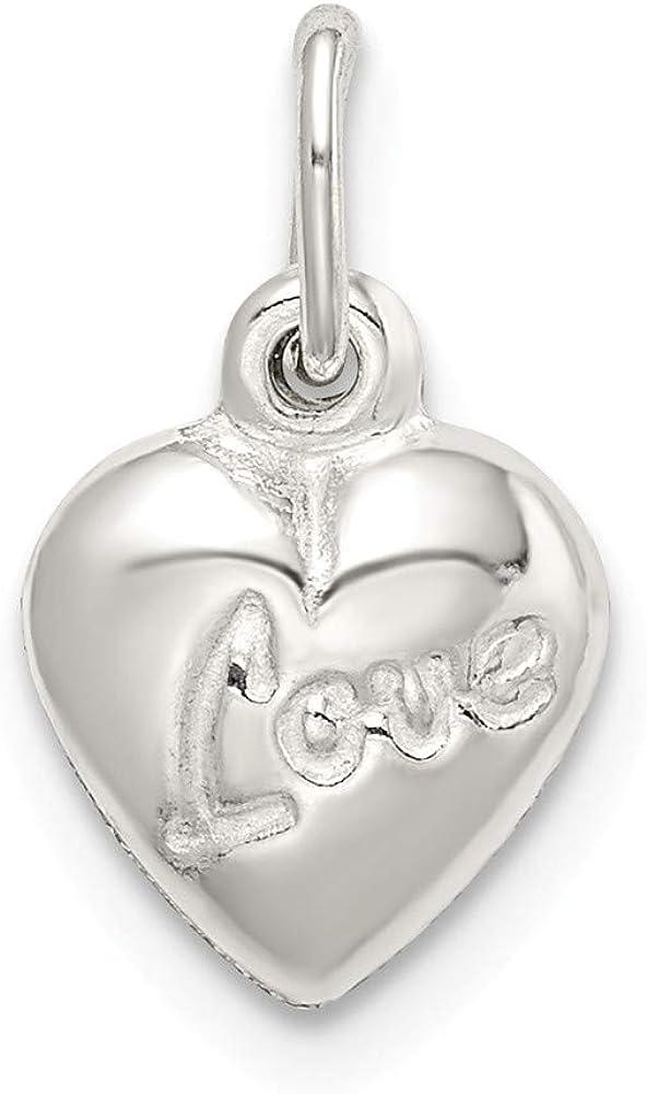 3780007c9f6cc Amazon.com: 925 Sterling Silver Love Reversible Puff Heart Pendant ...