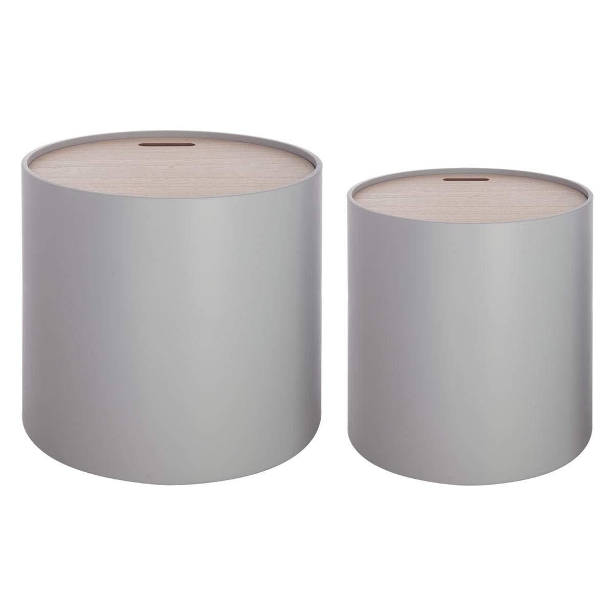 Set di 2 tavolini bassi sovrapponibili con funzione di contenitori - Stile moderno design - Colore: GRIGIO ATMOSPHERA