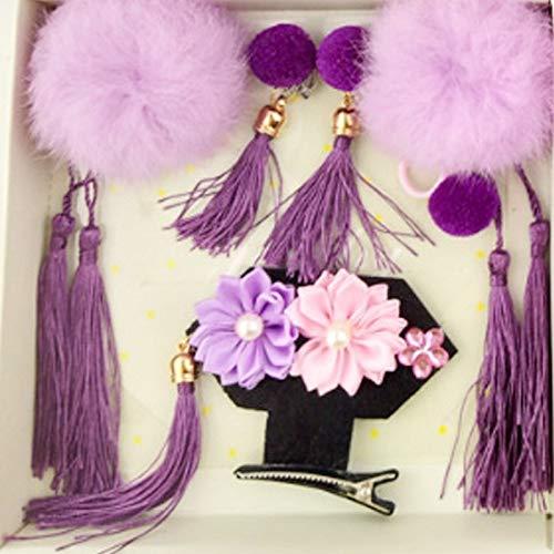 (1 piece 2018 Vintage Headwear Set Manchu Costume Hat Hairpin Tassels Earrings Ring Pompon Girls Princess Mini Headdress Hair)