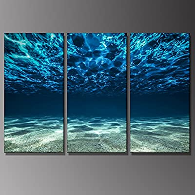 3 Panels Landscape Painting Pictures Blue Ocean Bottom View Beneath Surface Seascape Underwater Hanging Artwork Framed Prints Home Decoration Gift by uLinked Art