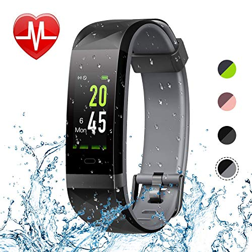 Letsfit Fitness Tracker HR, Color Screen Heart Rate Monitor Watch, Smart Activity Tracker Watch, IP68 Waterproof, Step Calorie Counter, Sleep Monitor, Pedometer Watch for Women Men Kids