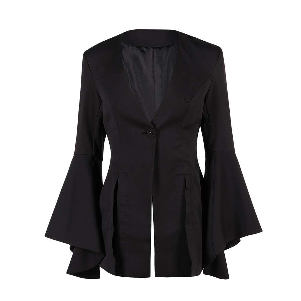 Lrud Women's Casual Work Long Sleeve Jacket Slim Fitted Open Front Blazer Suits Black XXL