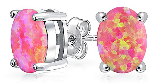 (Pink Created Opal Round Solitaire Stud Earrings For Women Basket Set 925 Sterling Silver 8MM October Birthstone)