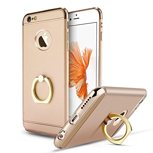 iPhone 6Plus Case, Apatner 3 in 1 Ultra Thin Hard Protective Luxury Case Cover with Rotating Ring Holder Kickstand for iPhone 6Plus/6s Plus(Gold)