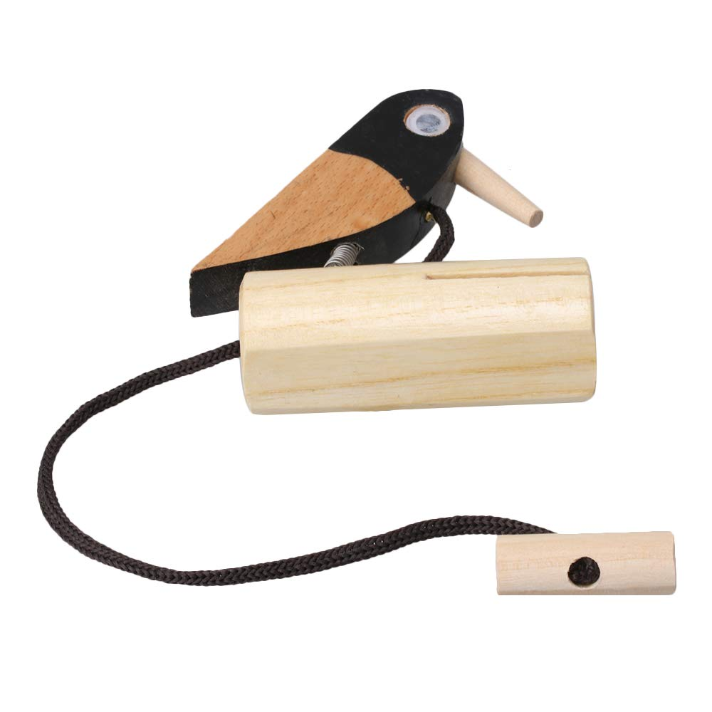 Yibuy Wooden Pull Rope Bird Woodpecker Musical Tone Block Percussion Toy for Kids Early Education etfshop M7171218043