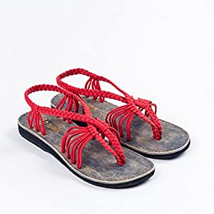 Plaka Flat Summer Sandals For Women by Red 5 Seashell