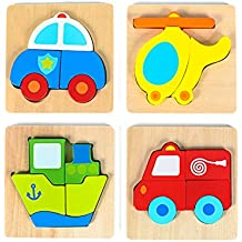 "Vehicle Mini Chunky Wooden Puzzle Bundle Pack (Set of 4) for Toddlers, Preschool Age Kids w/ ""Easy-Hold"" Colorful Solid Wood Pieces. Fire Truck, Police Car, Boat & Helicopter Included"