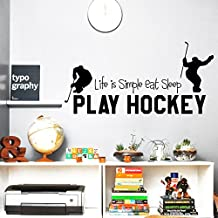 Wall Decals Quotes Sport Life Is Simple Eat Sleep Play Hockey Vinyl Sticker Gym Living Room Bedroom Decal Home Decor Art Murals DA3801