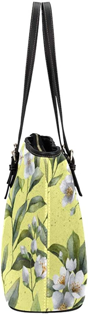 Handbag Large White Elegant Spring Romantic Jasmine Leather Hand Totes Bag Causal Handbags Zipped Shoulder Organizer For Lady Girls Womens Single Shoulder Bag