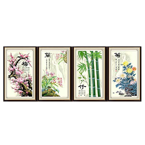 Cross stitch, plum blossom, orchid, bamboo, chrysanthemum, Chinese style, P0022