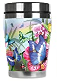 Mugzie Blue Butterfly'Mini' Travel Mug with Insulated Wetsuit Cover, 12 oz, Black