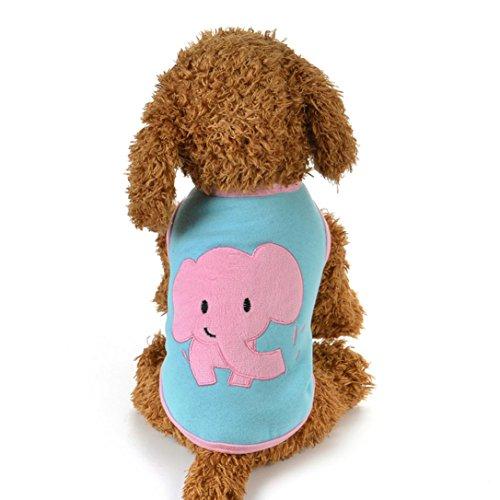 AMA(TM) Pet Cat Dog Doggie Cotton Winter Warm Elephant Pattern Vest T-Shirt Small Puppy Jacket Coat Apparel Costume (S, - Blends Pattern Cotton Deer