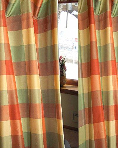 Drapes Silk Plaid (Coral Checkered Faux Silk Taffeta Lined Rod Pocketed Window Curtain Panel Drape (52