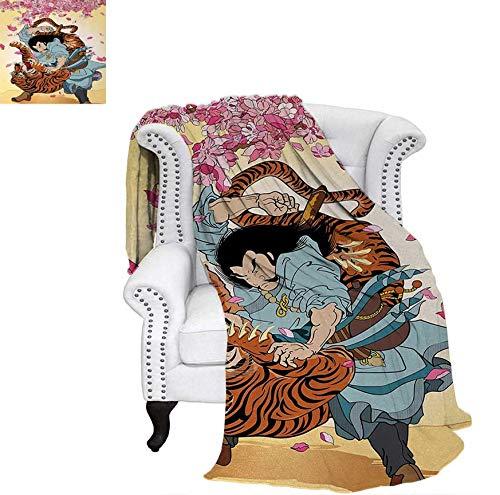 Super Soft Lightweight Blanket Brave Samurai and Tiger Clash Turn into Floral Sakura Cherry Blossoms Cartoon Print Oversized Travel Throw Cover Blanket 90