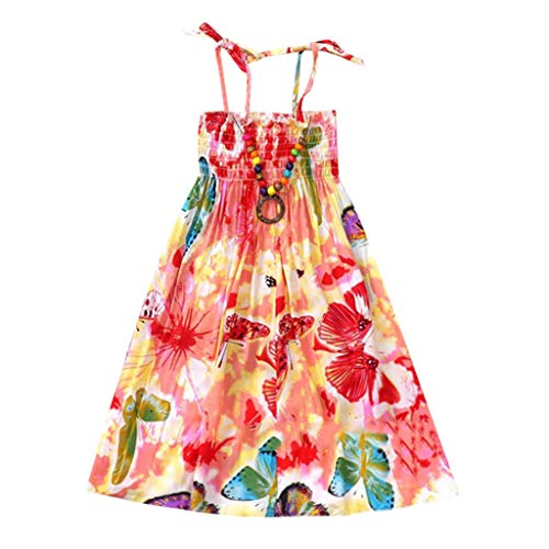 WOCACHI Toddler Baby Girls Dresses, Infant Kids Girls Baby Clothes Vestidos Floral Bohemian Beach Straps Dress Back to School Easter Egg Costume Parade Bunny Lily Eggs Roll Basket Mother's Day Pink]()