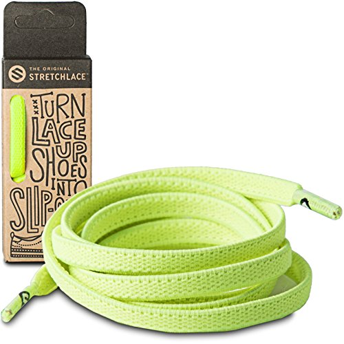 (THE ORIGINAL STRETCHLACE No Tie Shoelaces | Adults Kids | Stretch Elastic Laces (34 Inch Small, Neon Green & Yellow))