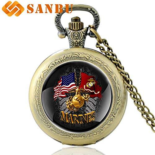 Pocket & Fob Watches Gold United States Marine Corps Flag Quartz Pocket Watch Vintage Men Women Bronze Pendant Necklace Antique Jewelry - by Tini - 1 PCs (Dial Flag Bezel)