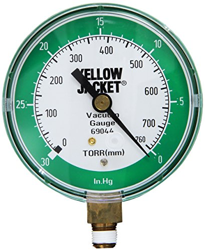 "Yellow Jacket 69044 Vacuum Gauge, 0-30"" Hg/760-0 Torr, 3 1 ..."