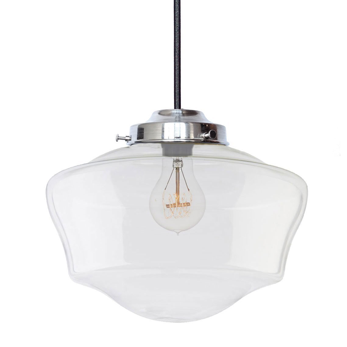 Amazon com usa made 12 schoolhouse clear glass cloth cord pendant light nickel handmade