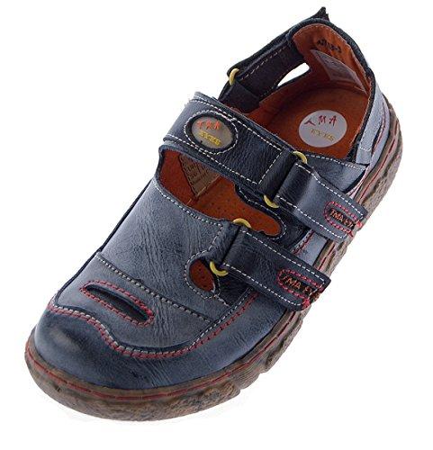 TMA Damen Comfort Leder Sandalen 7093 Schuhe Schwarz Weiss Rot Grün Halbschuhe Sandaletten Schwarz Grau