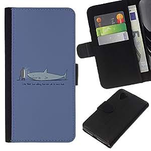 EJOY---Tirón de la caja Cartera de cuero con ranuras para tarjetas / LG Nexus 5 D820 D821 / --TV Divertido Tiburón
