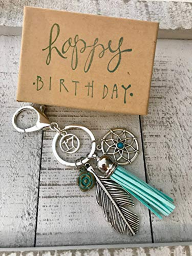 Dream Catcher 17th Birthday Gift for Her Adorable Key Chain, Packaged in Hand Stamped Box