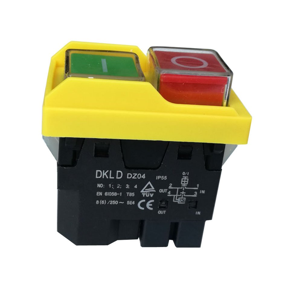 DKLD DZ04 4 pins Waterproof Electromagnetic Push Button Switches Start Stop Switch for Grinding Machine 250VAC 8(6)A