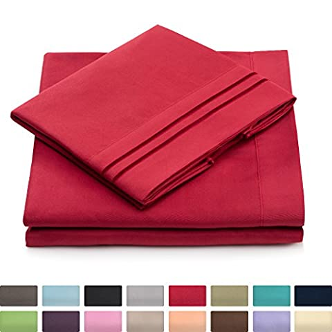 King Size Bed Sheets - Burgundy Luxury Sheet Set - Deep Pocket - Super Soft Hotel Bedding - Cool & Wrinkle Free - 1 Fitted, 1 Flat, 2 Pillow Cases - Dark Red King Sheets - 4 - Magenta Twin Pack