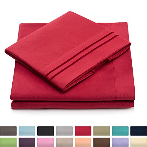 Split King Bed Sheets – Burgundy Luxury Sheet Set – Deep Pocket – Super Soft Hotel Bedding – Cool & Wrinkle Free – 2 Fitted, 1 Flat, 2 Pillow Cases – Dark Red SplitKing Sheets – 5 Piece