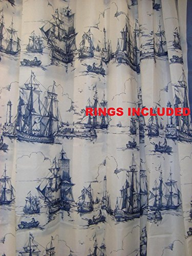 Ikea-Nautical-Tall-Ships-Boat-Lighthouse-Navy-White-Fabric-Shower-Curtain-71-X-71-Aggersund