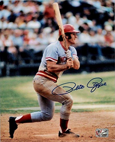 Pete Rose Autographed Photograph - 8x10 Exclusive Hologram Red 4 - Autographed MLB Photos