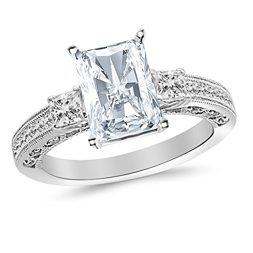 14K White Gold 1 CTW Three 3 Stone Princess Cut Channel Set Diamond Engagement Ring w/ 0.5 Ct Radiant Cut F Color SI1 Clarity