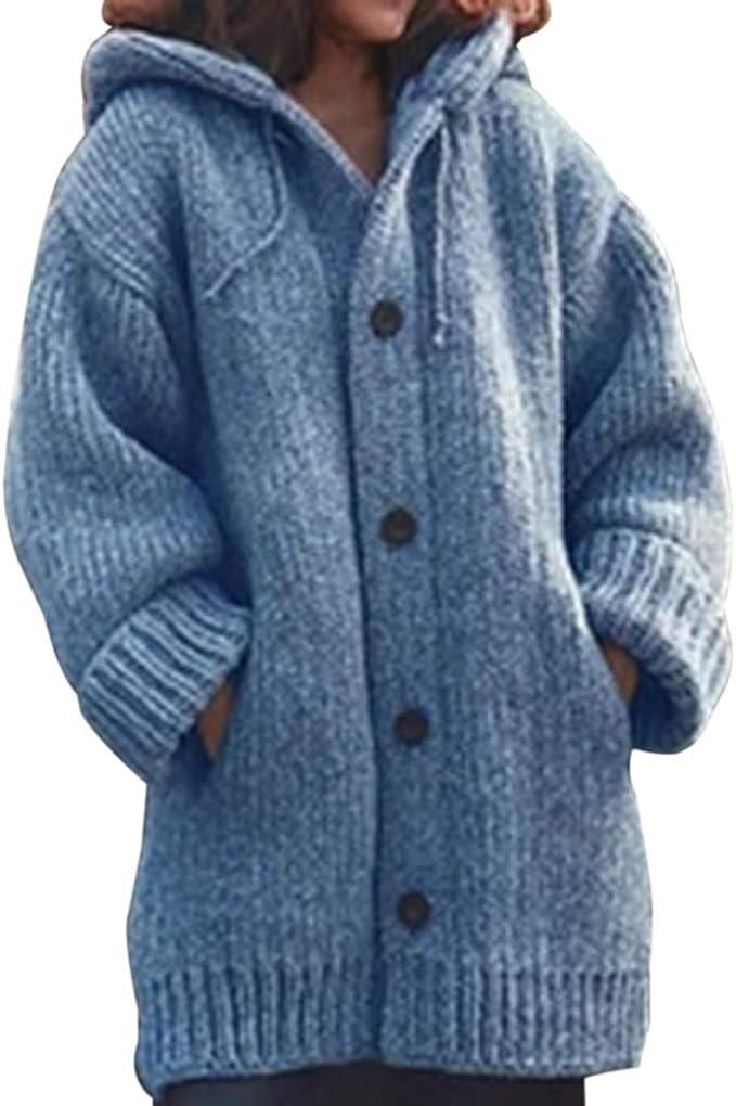 Frauen Winter Oberbekleidung Wolle Wasserfall Jacke Mantel Strickjacke Outwear Bluse Offene Cardigan OSYARD Wintermantel /Übergangsmantel Einfarbig Lang Fleecejacken Strickmantel Damen