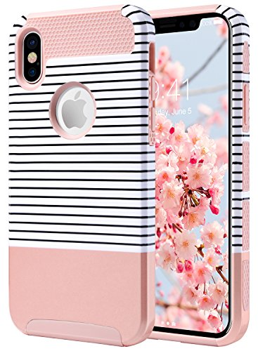 "Price comparison product image iPhone X Case, Pretty iPhone X Case, ULAK Slim Dual Layer Hybrid Glossy Finish Hard PC Shell Flexible Shock Absorbing TPU Skin Protective Grip Cover for Apple iPhone X 5.8"", Rose Gold Minimal"