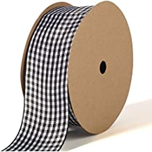 NewTrend Gingham Ribbon 25 Yard Each Roll 100% Polyester Woven Edge (1 1/2-Inch, Black)