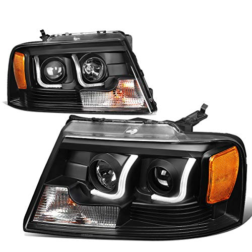 For 04-08 Ford F150 / Lincoln Mark LT Pair Black Housing Amber Corner Dual LED DRL Projector Headlight/Headlamps