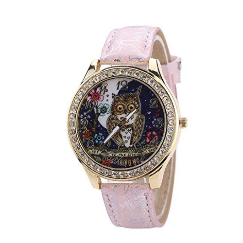Diamond Outdoor Clock - Cartoon Owl Wrist Watch,Vovomay Couple's Universal Diamond Quartz Watch Dial Clock (Pink)
