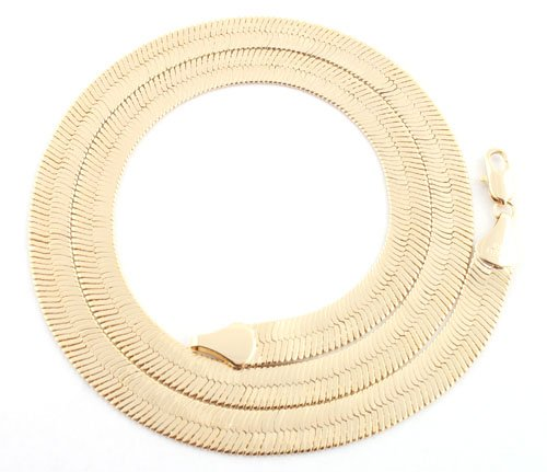 Goldtone 7mm 20 Inch Herringbone Chain Necklace (P-31)