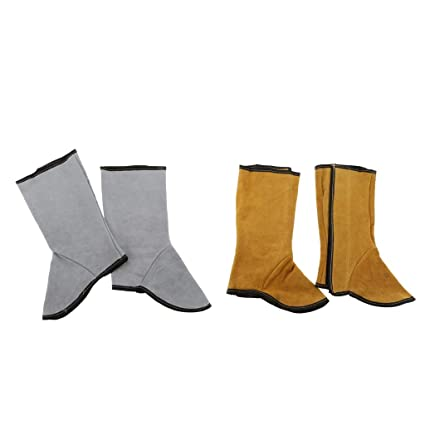 Tubayia 2 pares de zapatos de soldador de piel sintética, zapatos de trabajo, botas