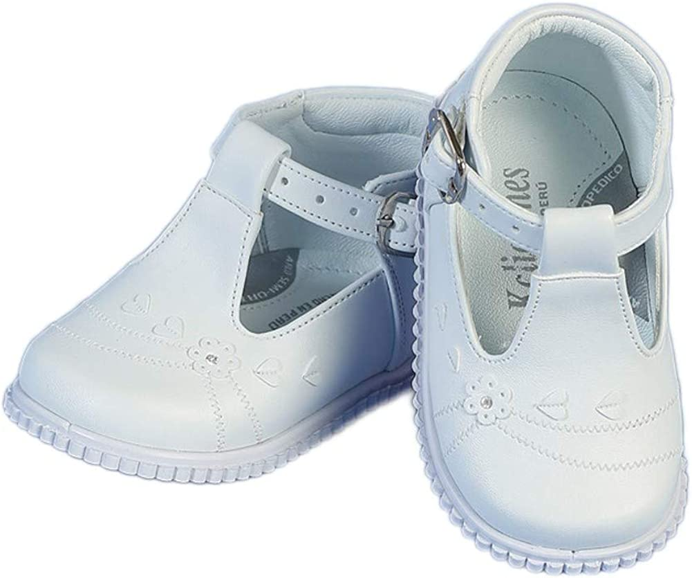 Angels Garment Baby Girls White Buckle Christening Easter Shoes 2-3