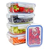 Glass Meal Prep Containers [5-pack] - Food Storage Containers with Snap Locking Lids - Portion Control - BPA - free, Airtight, Leak proof Meal Prep - Microwave, Oven, Freezer & Dishwasher Safe